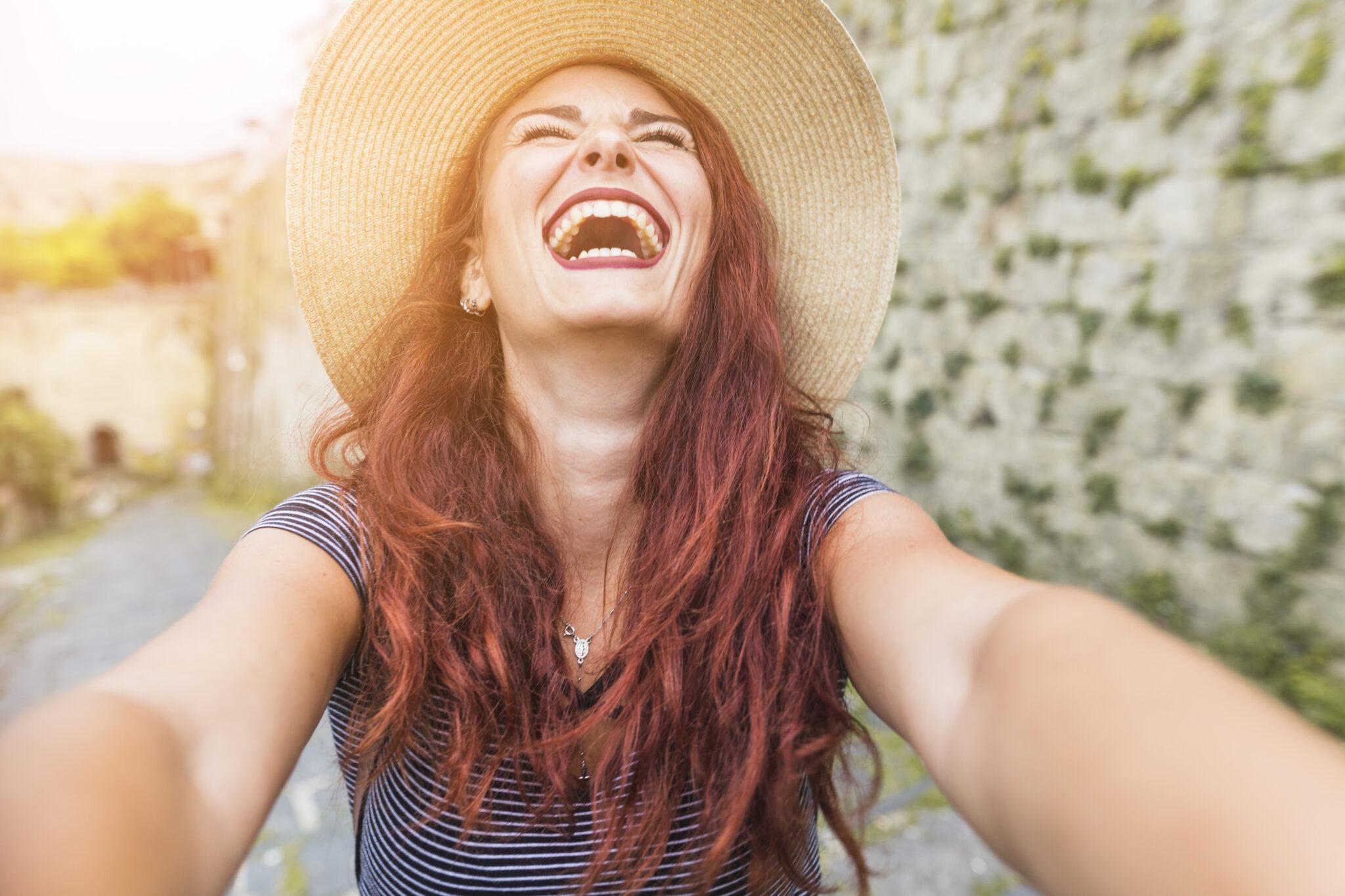 Happy woman teeth